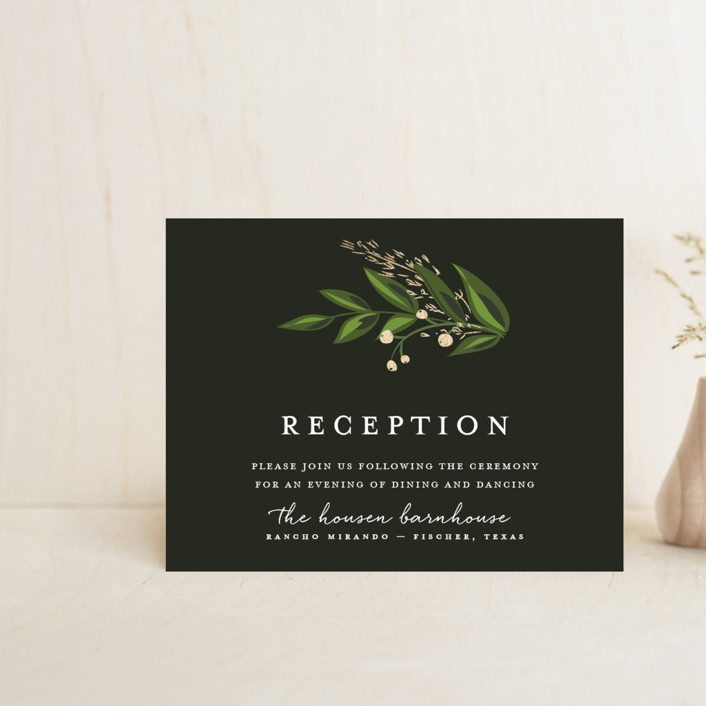 """""""Vines of Green"""" - Foil-pressed Reception Cards in Fern by Susan Moyal."""
