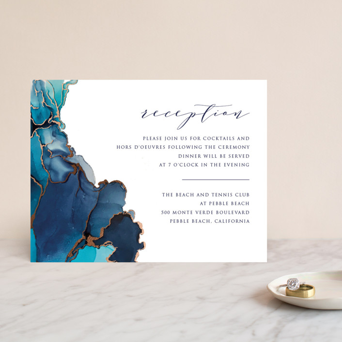 """""""Modern Tide Pools"""" - Modern Foil-pressed Reception Cards in Turquoise by Erin Deegan."""
