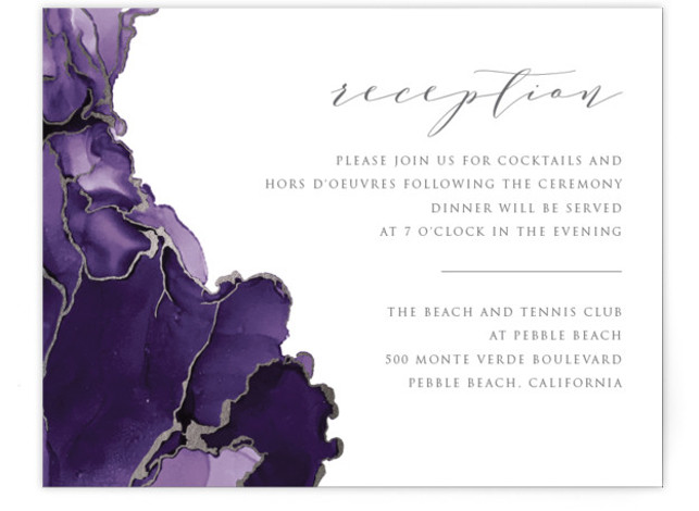 This is a modern, painterly, purple, silver Reception Cards by Erin Deegan called Modern Tide Pools with Foil Pressed printing on Signature in Card Flat Card format. Original hand painted, foil pressed wedding invitation.