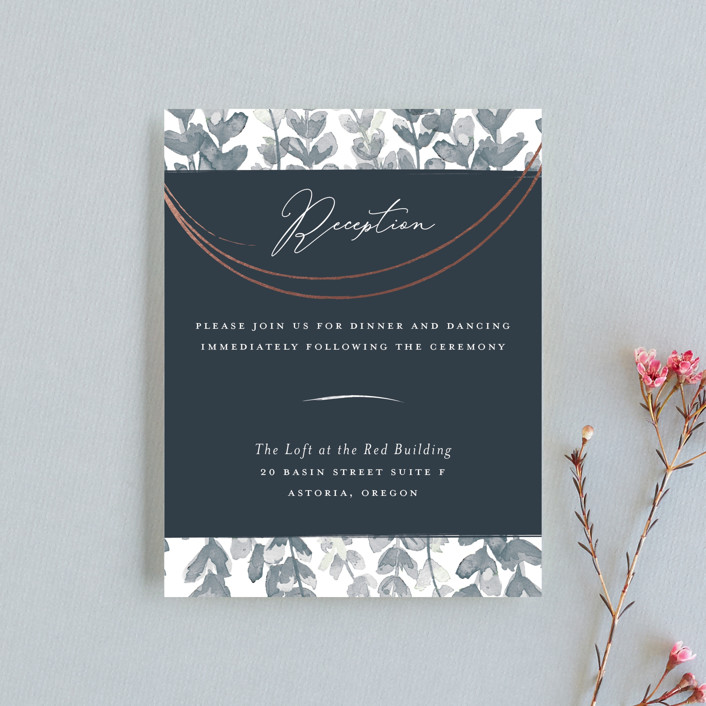 """Sprigs of Romance"" - Modern Foil-pressed Reception Cards in Royal by Papernoten."