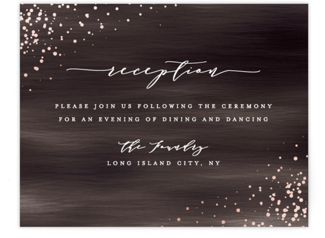 This is a modern, painterly, brown Reception Cards by Ana Sharpe called Cosmic with Foil Pressed printing on Signature in Card Flat Card format. Another romantic wedding invitation featuring original illustration background inspired by the universe.