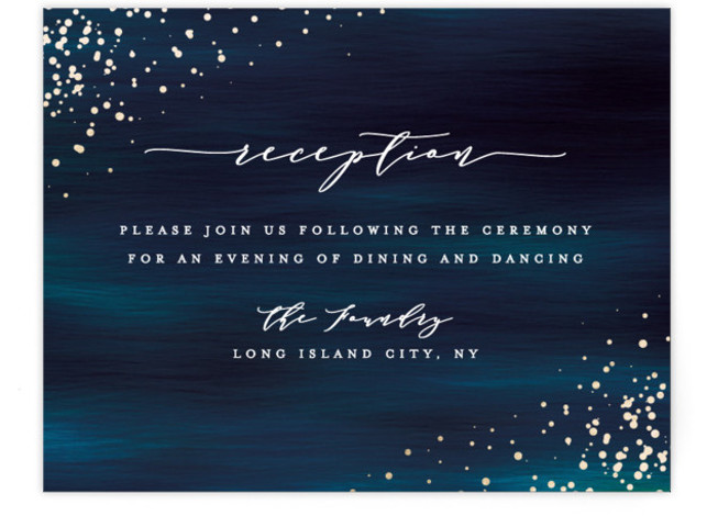 This is a modern, painterly, blue Reception Cards by Ana Sharpe called Cosmic with Foil Pressed printing on Signature in Card Flat Card format. Another romantic wedding invitation featuring original illustration background inspired by the universe.
