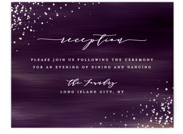 This is a modern, painterly, purple Reception Cards by Ana Sharpe called Cosmic with Foil Pressed printing on Signature in Card Flat Card format. Another romantic wedding invitation featuring original illustration background inspired by the universe.