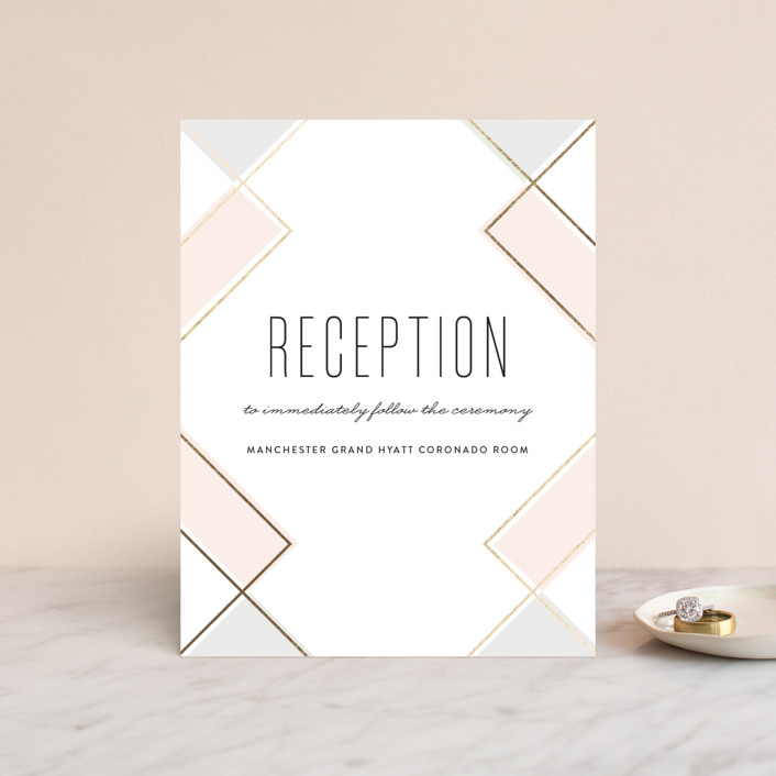 """Soft Glass"" - Modern Foil-pressed Reception Cards in Blush by Erica Krystek."
