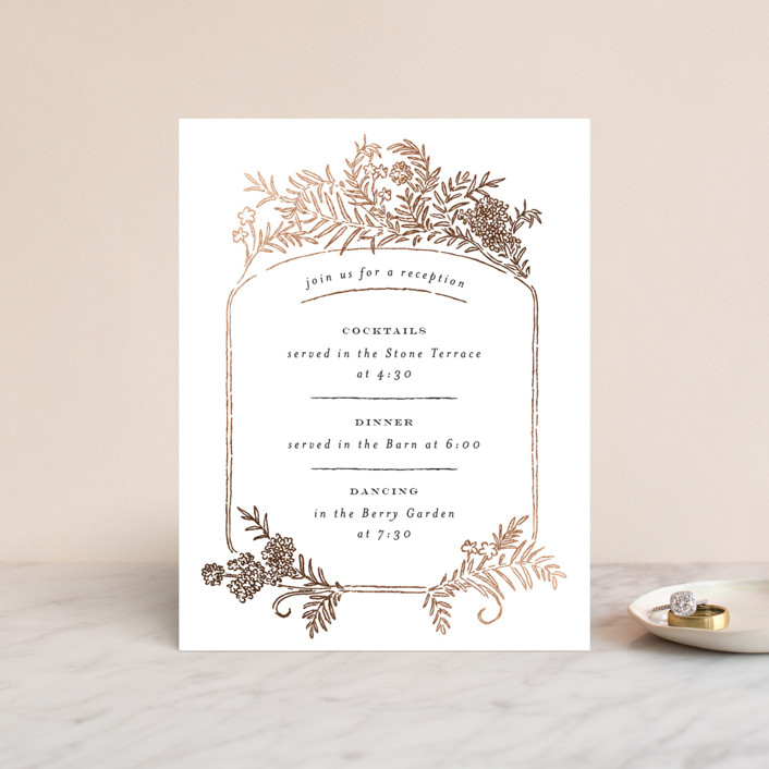 """""""Lacy Meadow Ovals"""" - Foil-pressed Reception Cards in Gold Leaf by Shiny Penny Studio."""