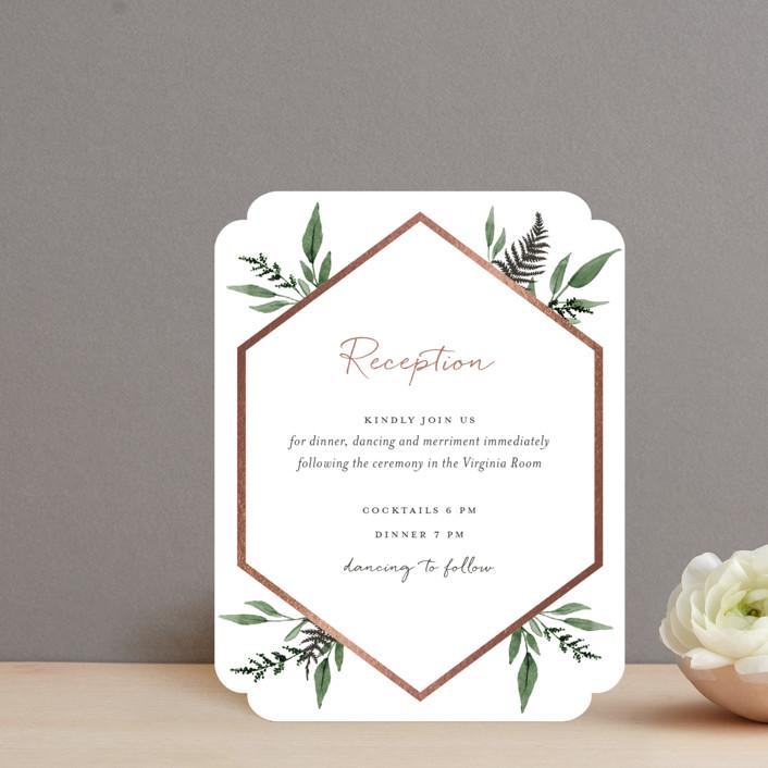 """Shade Garden"" - Foil-pressed Reception Cards in Leaf by Robin Ott."