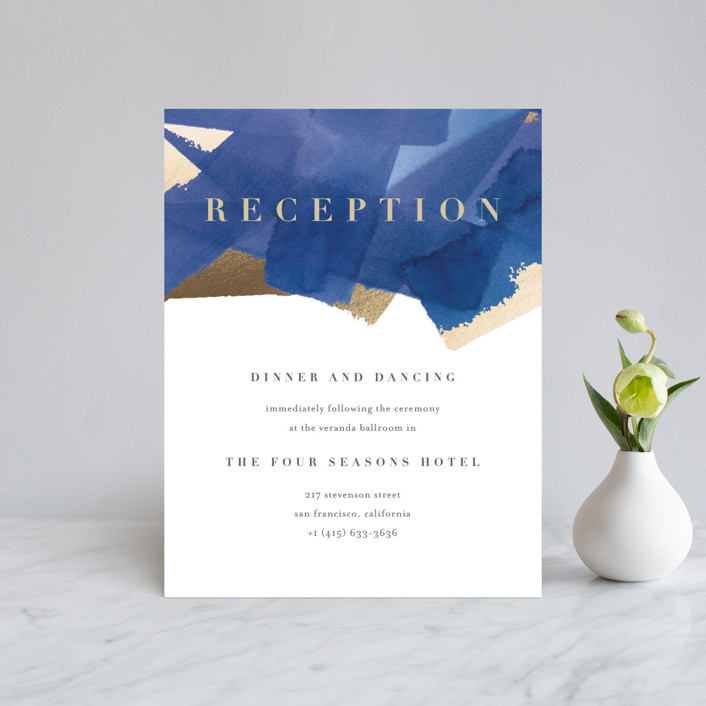"""""""Modern Abstract"""" - Modern Foil-pressed Reception Cards in Navy by Four Wet Feet Studio."""