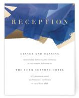 This is a blue foil stamped wedding invitation by Four Wet Feet Studio called Modern Abstract with foil-pressed printing on signature in standard.