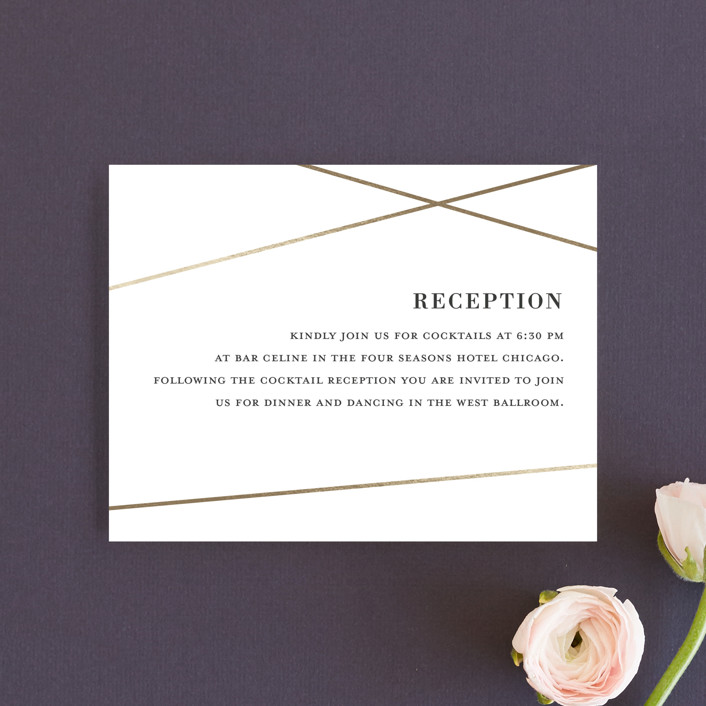 """""""String Art"""" - Modern Foil-pressed Reception Cards in Champagne by Kaydi Bishop."""