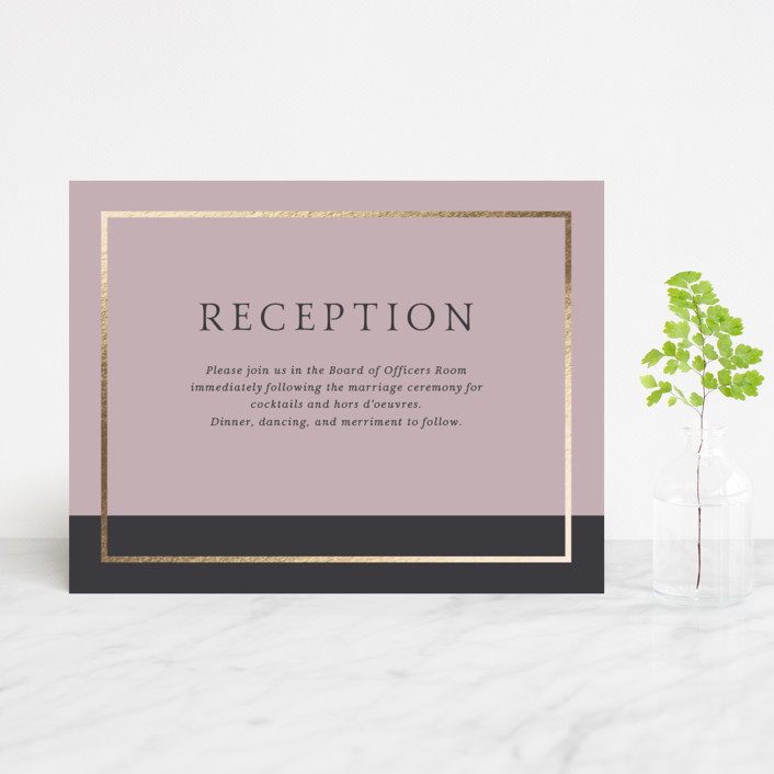 """""""Mod Block"""" - Modern Foil-pressed Reception Cards in Lilac by Little Words Design."""