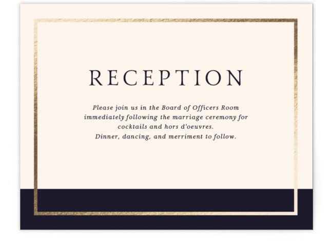 This is a modern, beige, blue, gold Reception Cards by Little Words Design called Mod Block with Foil Pressed printing on Signature in Card Flat Card format. A simple and modern color blocked wedding invitation with monogram