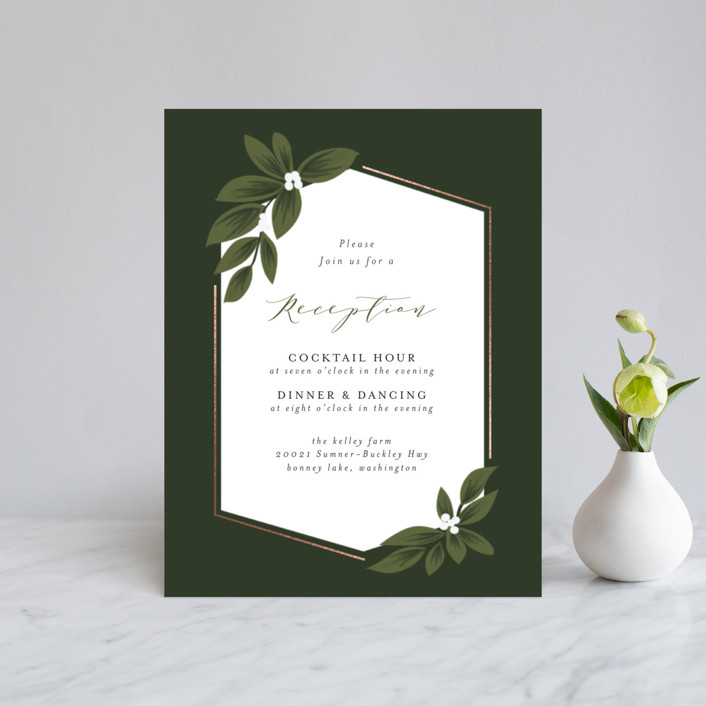 """Laurels Frame"" - Foil-pressed Reception Cards in Greenery by Itsy Belle Studio."