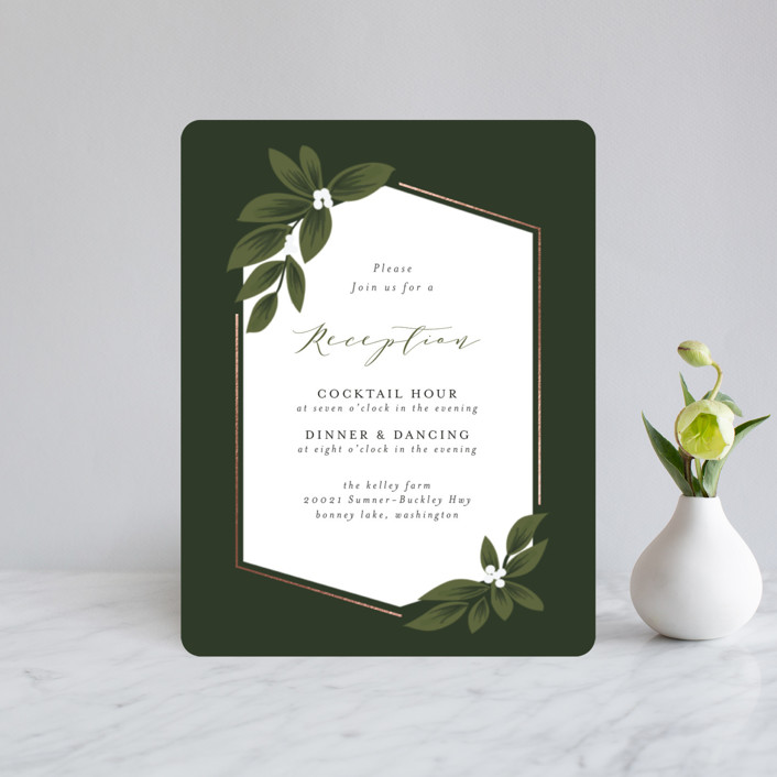"""""""Laurels Frame"""" - Foil-pressed Reception Cards in Greenery by Itsy Belle Studio."""
