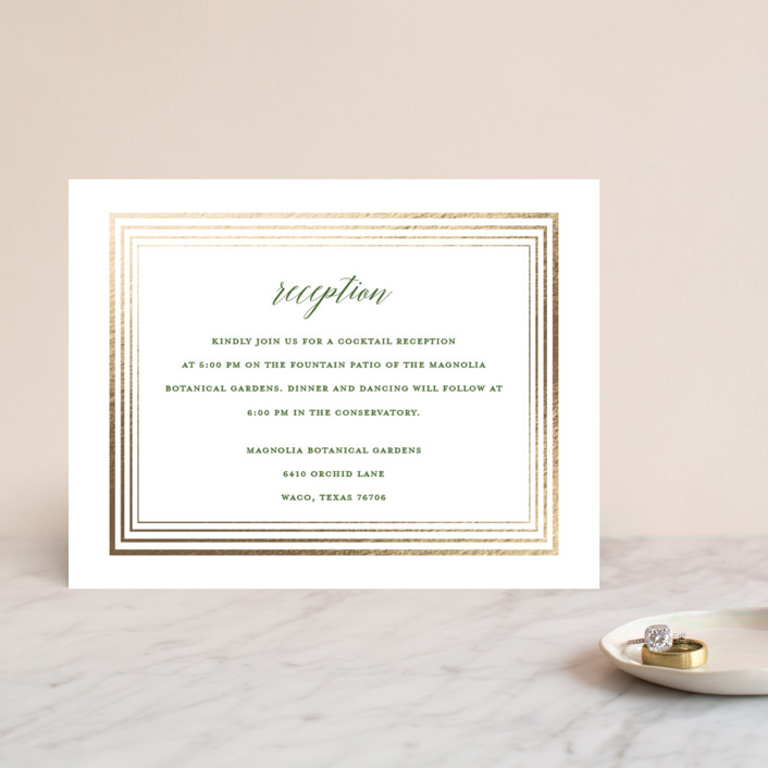 """Dipped Leaf"" - Foil-pressed Reception Cards in Leaf by Kaydi Bishop."