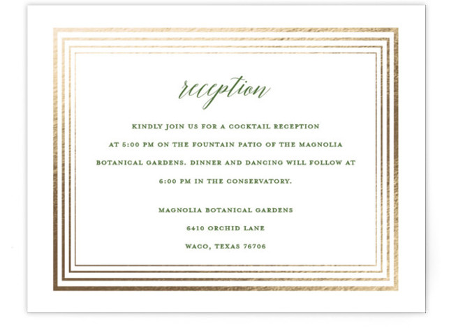 This is a botanical, green, white Reception Cards by Kaydi Bishop called Dipped Leaf with Foil Pressed printing on Signature in Card Flat Card format. A large hydrangea leaf dipped in gold is scripted with the couples names.