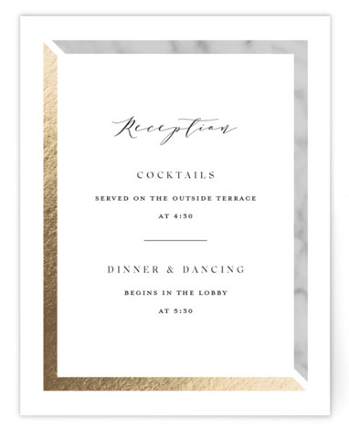 This is a bold and typographic, classic and formal, simple and minimalist, black and white, gold, grey Reception Cards by Carolyn MacLaren called Marble Marriage with Foil Pressed printing on Signature in Card Flat Card format. Fresh mix of marble ...