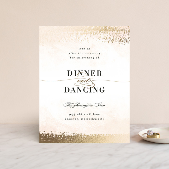 """Never ending"" - Modern Foil-pressed Reception Cards in Blush by Jennifer Wick."