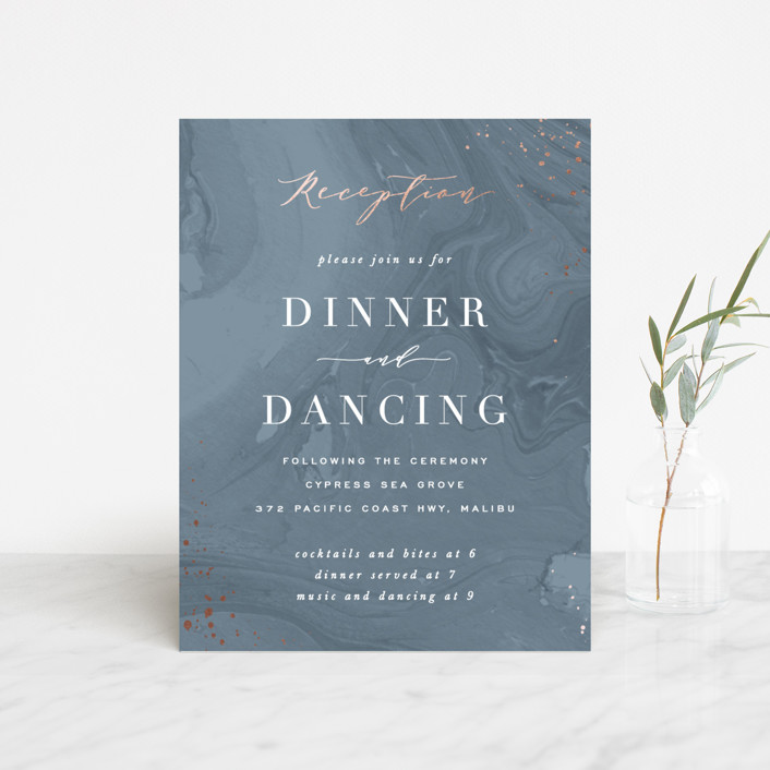 """""""Moody Marbling"""" - Modern Foil-pressed Reception Cards in Slate by Hooray Creative."""