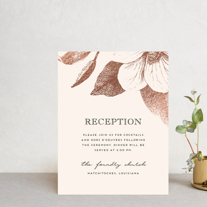 """""""The Land of Magnolias"""" - Foil-pressed Reception Cards in Blush by Design Lotus."""