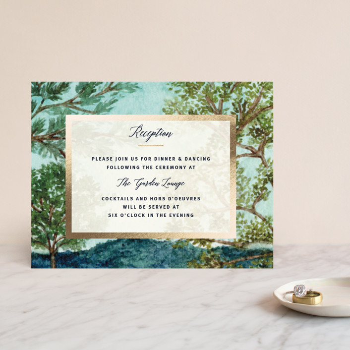 """""""Nature"""" - Rustic Foil-pressed Reception Cards in Forest by Elly."""
