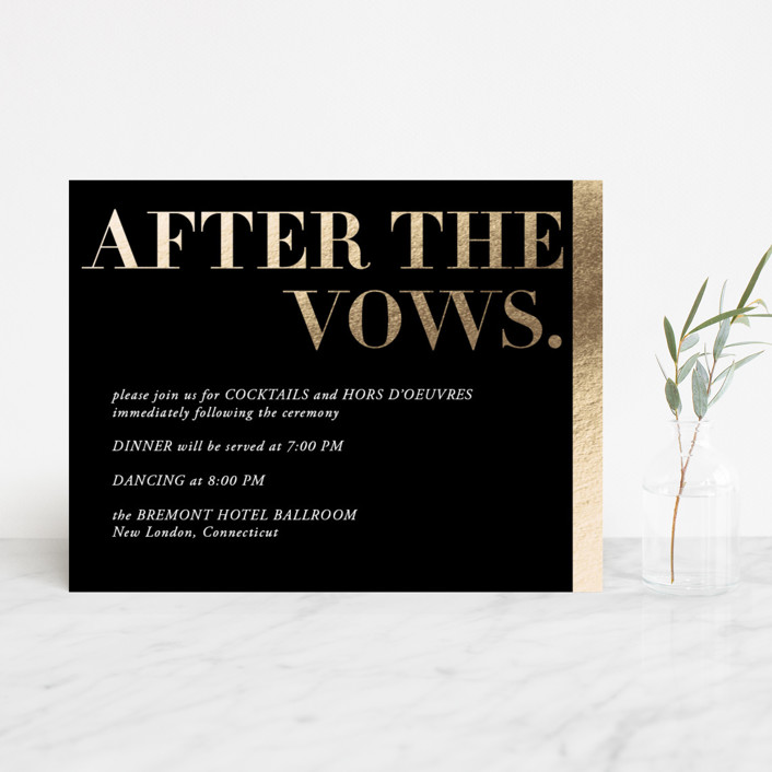 """""""Basically"""" - Foil-pressed Reception Cards in Noir by 2birdstone."""