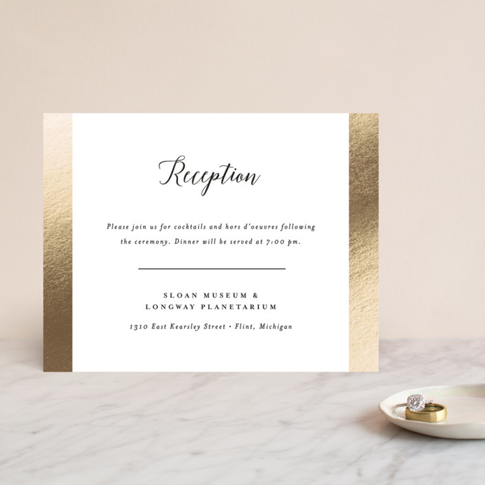 """""""Spruce"""" - Foil-pressed Reception Cards in Cotton by Genna Cowsert."""