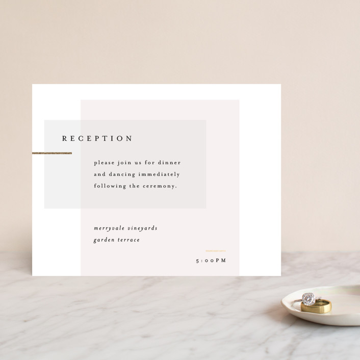 """Clean and Modern"" - Foil-pressed Reception Cards in Champagne by Kelly Schmidt."