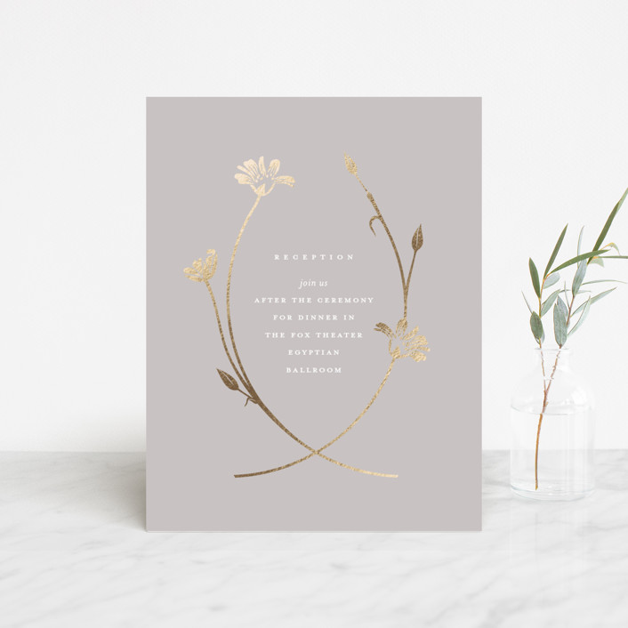 """""""Circlet"""" - Foil-pressed Reception Cards in Dove by kelli hall."""