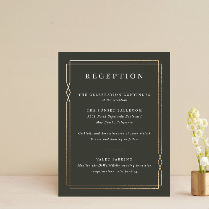 """""""Traditional Twist"""" - Foil-pressed Reception Cards in Cream by Sarah Brown."""