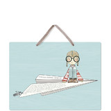 This is a blue kids room decor by Lulaloo called Globetrotter with standard printing on triplethick in sign.