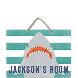 This is a green kids room decor by Annie Holmquist called Shark Bait with standard printing on triplethick in sign.