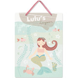 This is a blue kids room decor by peetie design called Sweet Mermaid with standard printing on triplethick in sign.