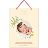This is a yellow kids room decor by Oma N. Ramkhelawan called Little Blessing with standard printing on triplethick in sign.