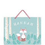 This is a blue kids room decor by Karidy Walker called Woodland Fox with standard printing on triplethick in sign.