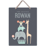 This is a blue kids room decor by Karidy Walker called The Amazing Circus with standard printing on triplethick in sign.