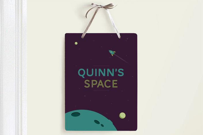"""""""Space is For Kids"""" - Room Decor Signs in Teal by Matt Millette."""