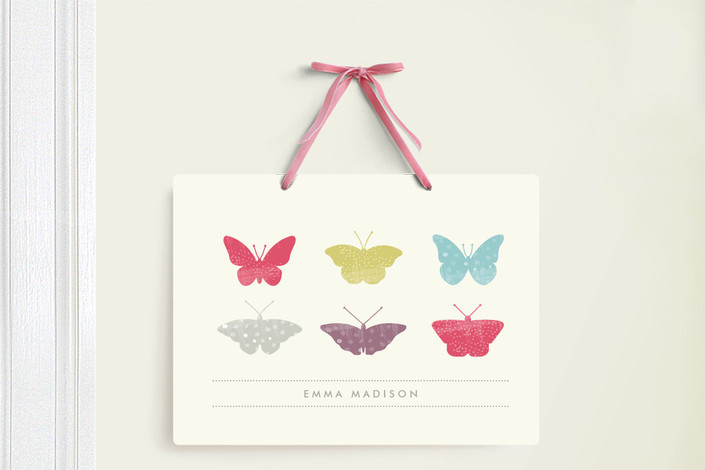 """""""Butterfly Specimen"""" - Room Decor Signs in Fuschia by Stacey Meacham."""
