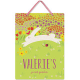 This is a green kids room decor by Aspacia Kusulas called Spring Garden with standard printing on triplethick in sign.