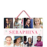 This is a pink kids room decor by Carolyn MacLaren called Snapshots with standard printing on triplethick in sign.