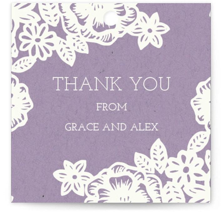 This is a floral, vintage, purple Rehearsal Dinner Favor Tags by Katharine Watson called Lace and Kraft with Standard printing on Signature in Tag Flat Card format. This hand painted floral lace design borders white text on a kraft background. ...