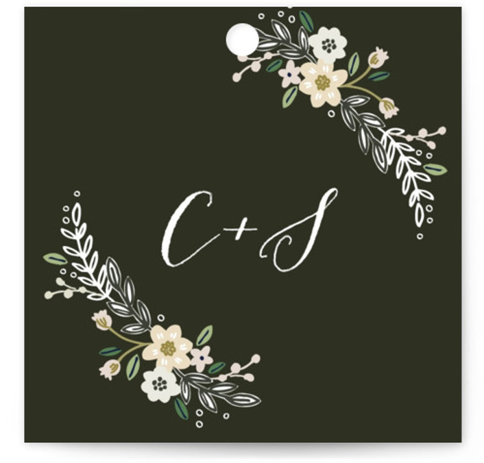This is a botanical, rustic, brown Rehearsal Dinner Favor Tags by Alethea and Ruth called Wildflower Crest with Standard printing on Signature in Tag Flat Card format. This wedding invitation features a wildflower wreath surrounding the bride and groom's names. ...