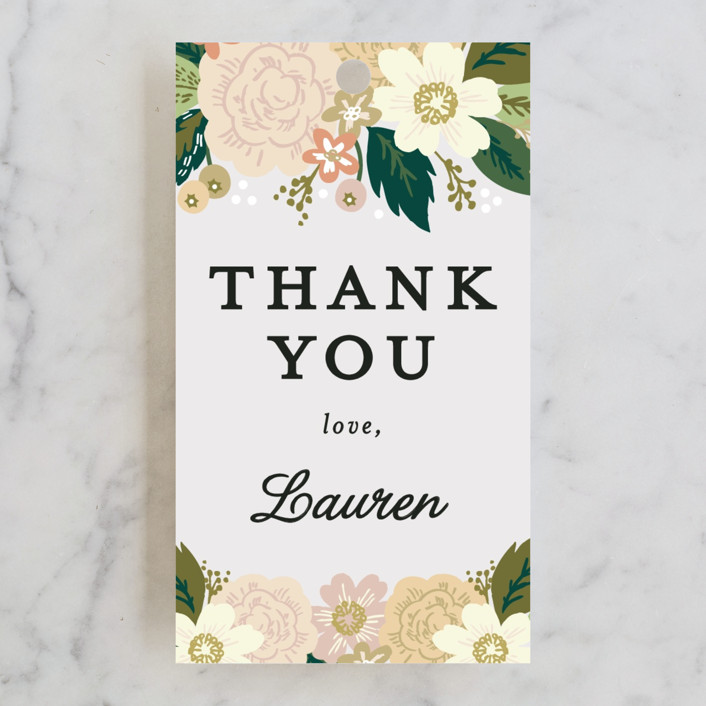 """Classic Floral"" - Rehearsal Dinner Favor Tags in Spring Blush by Alethea and Ruth."