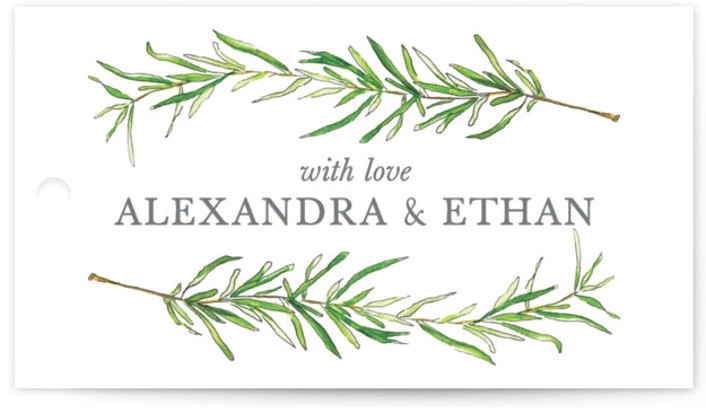 This is a botanical, illustrative, rustic, green Rehearsal Dinner Favor Tags by Erin Deegan called Simple Sprigs with Standard printing on Signature in Tag Flat Card format. Simple and traditional wedding invitation featuring sprigs of rosemary.