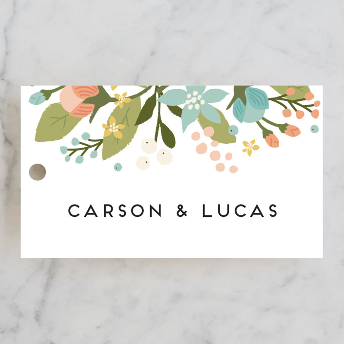 """Floral Ampersand"" - Rustic Rehearsal Dinner Favor Tags in Sea Breeze by Jennifer Wick."