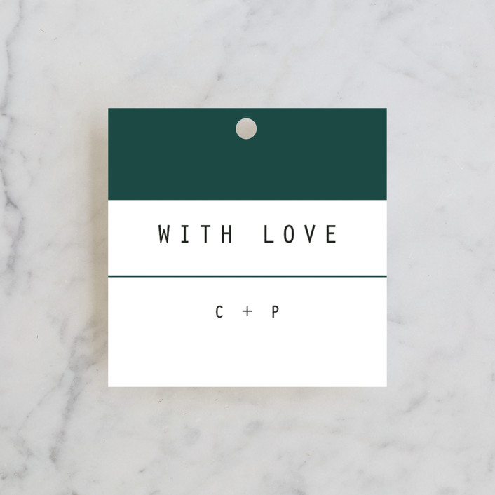 """BOLD AS LOVE"" - Modern Rehearsal Dinner Favor Tags in Noir by DESIGN X FIVE."