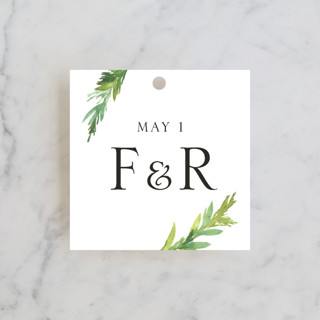 Simple Pine Branches Rehearsal Dinner Favor Tags