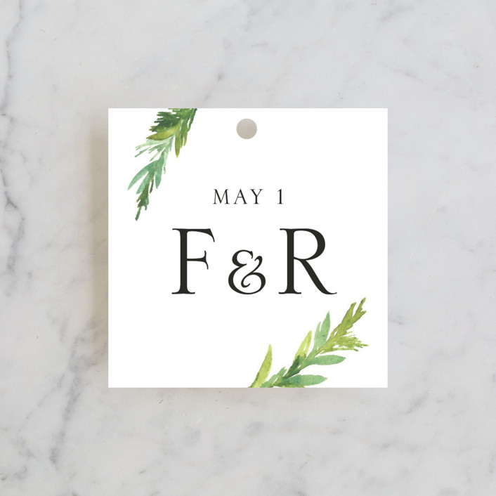 """""""Simple Pine Branches"""" - Rustic Rehearsal Dinner Favor Tags in Vanilla by Mere Paper."""