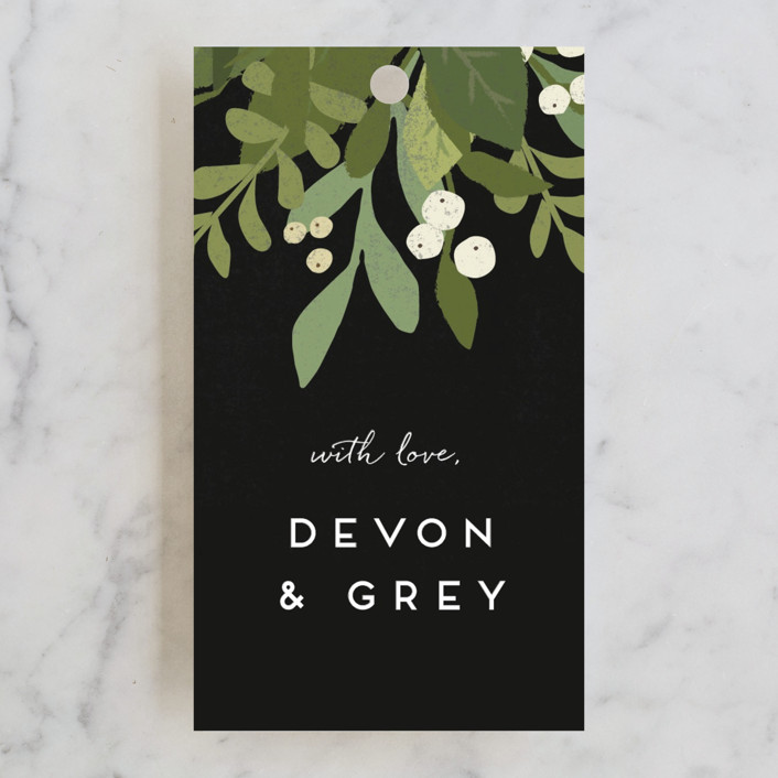 """Laurel of Greens"" - Rehearsal Dinner Favor Tags in Midnight by Jennifer Wick."