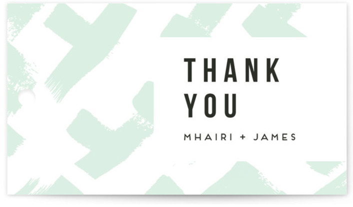 This is a green Rehearsal Dinner Favor Tags by Everett Paper Goods called Crossed Brushstrokes with Standard printing on Signature in Tag Flat Card format. This bold save the date card features bold, crosshatched brush strokes that give a modern, ...