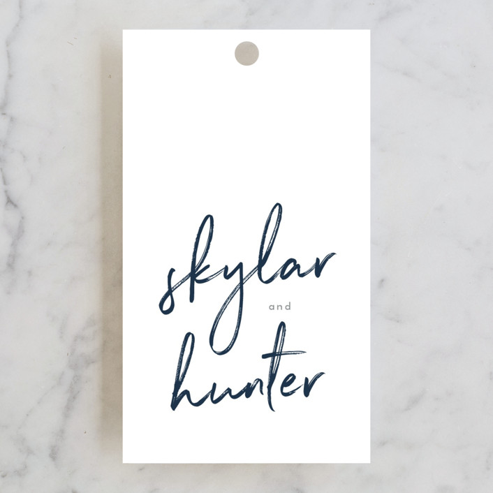 """""""Funky Names"""" - Rehearsal Dinner Favor Tags in Navy by Phrosne Ras."""